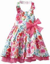 Bonnie Jean Toddler Girl Fuchsia Floral Print Halter Spring Summer Dress 4T New