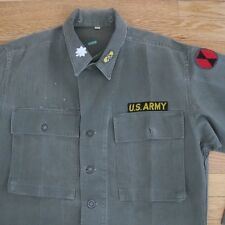 VINTAGE ORIGINAL KOREA WAR TWILL HERRINGBONE HBT 13 STARS BUTTON US ARMY SHIRT