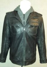 stunning GUESS Soft Real Leather Hooded Jacket Size: M in VERY GOOD Condition
