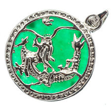 Chinese Emerald Green Jade Jadeite 18K White Gold Plated Dragon Pendant #031