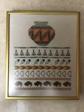 "Vintage ""South Western "" Completed Cross Stitch Picture Custom Framed"