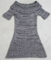 Planet Gold Gray White Women's Acrylic Sweater Dress Medium Short Sleeve Woman