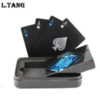 Black Plastic PVC Poker Waterproof Magic Tinplate Box-packed Playing Cards Set
