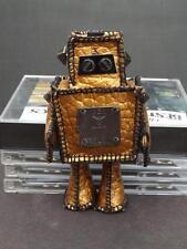 MCM Munchen Doll Robot Charm Keychain Gold Visetos PVC Leather Germany