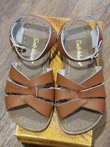 New Sun-San Salt Water Sandals,original style  tan leather sandals, youth 1,NIB