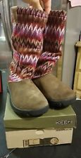 Keen Tall Lined Suede Auburn Navajo Knit Sweater Boots Pink Youth Sz 5