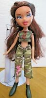 BRATZ DOLL LONG BROWN HAIR ARMY SHORTS TOP BOOTS