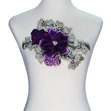 1 piece 3D Flower Design Embroidery Applique Lace Cord Patches Trimming Motif