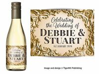 PERSONALISED gold mini wine or mini Champagne bottle labels Wedding favour Hen