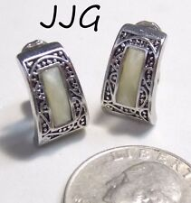 Vtg Signed JJG (Jonette) Clip Earrings, Ivory Acrylic Swirl, Ornate ST Trapezoid