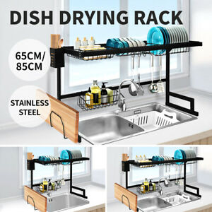 Dish Drying Rack Over Sink Stainless Steel Dish Drainer Organizer 2 Tier 65/85CM