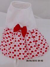 XXS Red & Pink Heart Dog Dress Apparel Clothing Cotton Blend XX Small