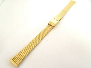 Gold Tone Stainless Steel 12mm Watch Strap Adjustable Sliding Clasp