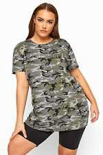 Yours Clothing Women's Plus Size Limited Collection Khaki Camo Print T-shirt