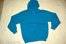Mens Sweatshirt PULLOVER HOODIE Pouch Pocket TURQUOISE Black Speckles M 38-40