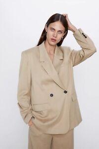 Zara Double Breasted Oversized Masculine Camel Beige Blazer Size XS RRP £60