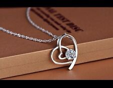 USA Seller Heart-shaped Rhinestone Pendant Necklace Jewelry Accessories White