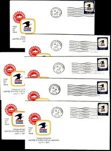 7 USPS 1 JULY 1971 First Day of Issue Covers 5 Canceled in CA; 2 Unused $3s&hUSA