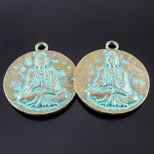 Antike Bronze Legierung Charme Anhänger Runde Buddha Muster Schmuck Handwerk 3x