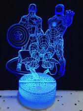 3D Night Light 7 Colors Change LED Lamp Averangers Marvel Iron Man Spider Cap