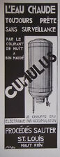 PUBLICITÉ DE PRESSE 1931 CHAUFFE EAU CUMULUS PROCÉDÉS SAUTER - ADVERTISING
