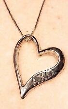 SIGNED CID STERLING SILVER APLHA CHI OMEGA HEART PENDANT NECKLACE 18""
