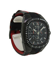 Breil Milano BW0307 Men's Carbon Chronograph Date Analog Red Leather Watch