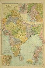 1912 LARGE ANTIQUE MAP INDIA CEYLON CALCUTTA BURMA BOMBAY MADRAS MYSORE