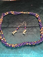 Egyptian Necklace Earrings Cat Goddess Faux Lapis Gold Beaded Set Blue Vintage