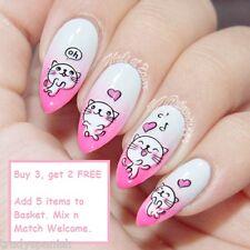 Nail Art Water Decals Transfers Decoration White Pink Kitten Cat Gel Polish 927