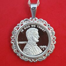 1909 Lincoln Liberty Design 1/10 oz. .999 Silver Coin Sterling Silver Necklace