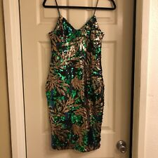 NEW Club L Green Gold Sequence Cocktail NYE Evening Party Dress Size 4
