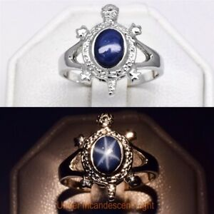 7x5mm Dark Blue Natural 6 Ray Star-Sapphire Turtle Ring in 925 Sterling Silver