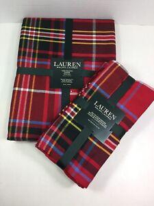 """NEW Ralph Lauren Baker Tartan Plaid 70"""" ROUND Tablecloth & 4 Matching Napkins"""