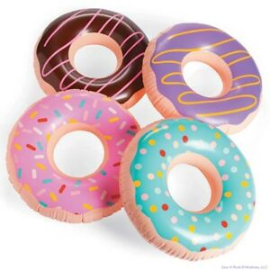 (3) JUMBO FROSTED DONUT Shaped Inflatables - Blow Up Pool Party Favor Toys luau