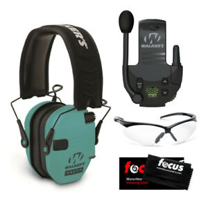 Walker's Razor Slim Electronic Muff (Light Teal) with Walkie Talkie and Glasses