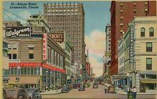 Adams Street View Drug Store Kress Old Cars Jacksonville Florida FL Postcard B8