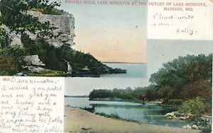 MADISON WI – Profile Rock, Lake Mendota at the Outlet of Lake Mendota – udb–1907