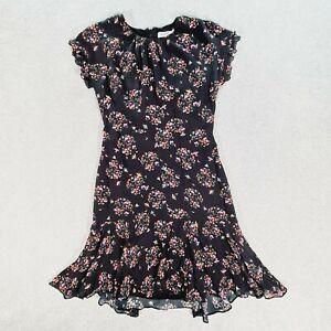MARCS Womens Black Floral Flutter Sleeve Silk Blend Sheath Dress Size 8