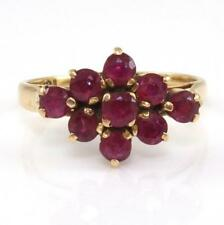 Solid 14K Yellow Gold Natural Ruby Cluster Ring Size 4.75 GEI