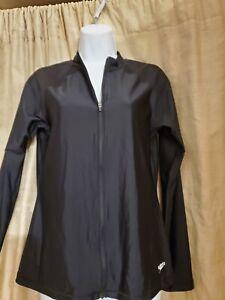 Womens  Long Sleeve Speedo Black PowerFlex Eco Swimsuit TOP Size Medium NWT