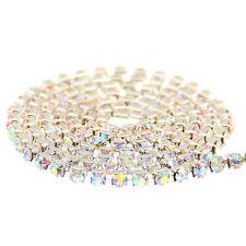 1m Single Row Strass Glass Crystal Rhinestones Diamante Claw Cup Chain Trims DIY
