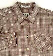 Orvis Shirt Brown Beige Plaid Button Down Size 10