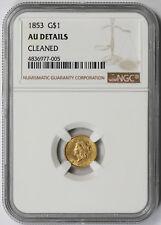 1853 Liberty Head Gold Dollar $1 AU Details NGC