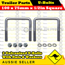 2 x U-Bolts 100mm x 75mm Square with Nylock Nuts Galvanized