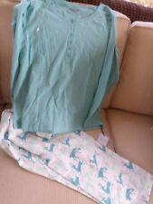 Sleep Sense Aqua Blue Reindeer Christmas Cotton Knit Lounge Pajamas M L NWT
