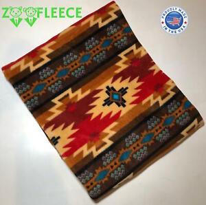 "ZooFleece Orange Southwestern Aztec Tribal America Throw Bedding Blanket 60X60"""