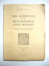 LAWRENCE E. HARVEY : THE AESTHETICS OF THE RENAISSANCE LOVE SONNET / DROZ / 1962