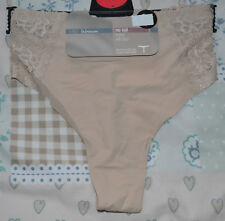 LADIES M&S NO VPL THONG KNICKERS WITH STRETCH - SIZE 18 - FAWN - BNWT