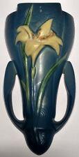 """Vintage Original Roseville Blue Zephyr Lily Wall Pocket 1297 - 8"""""""